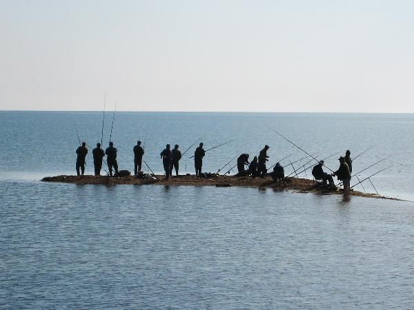 Группа людей рыбачит с острова