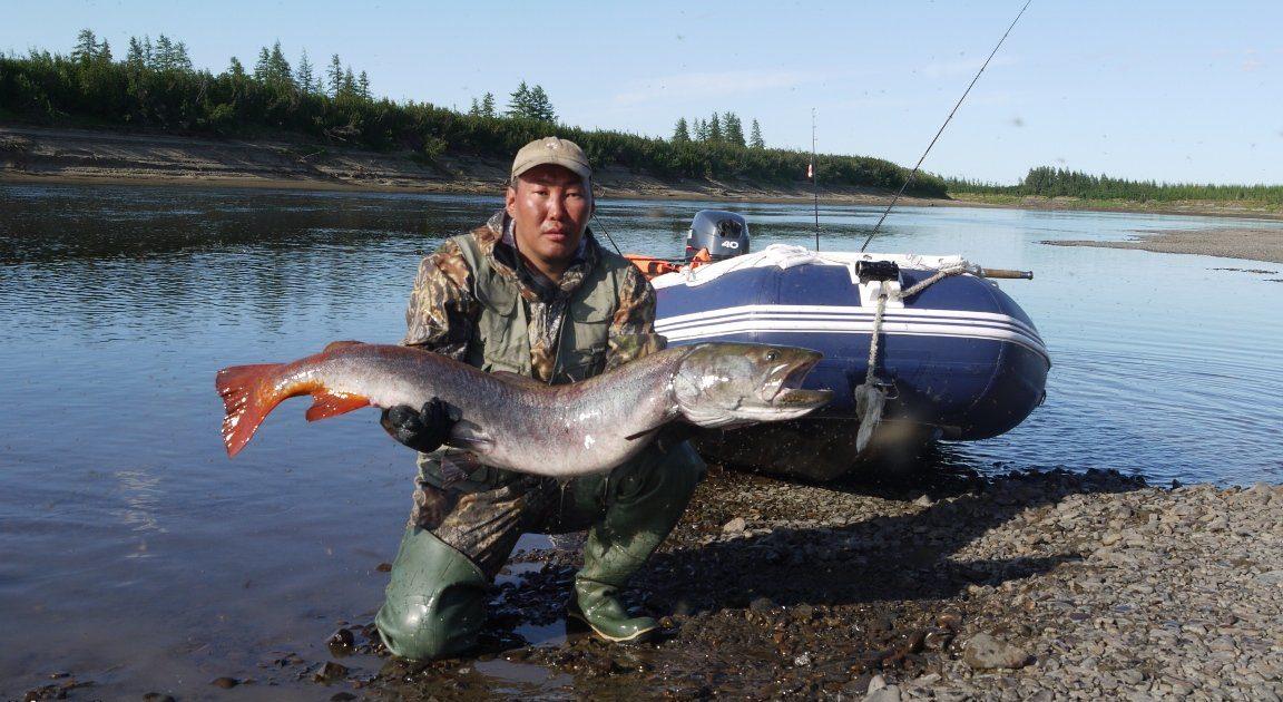 Рыбак лодка и огромная рыбина