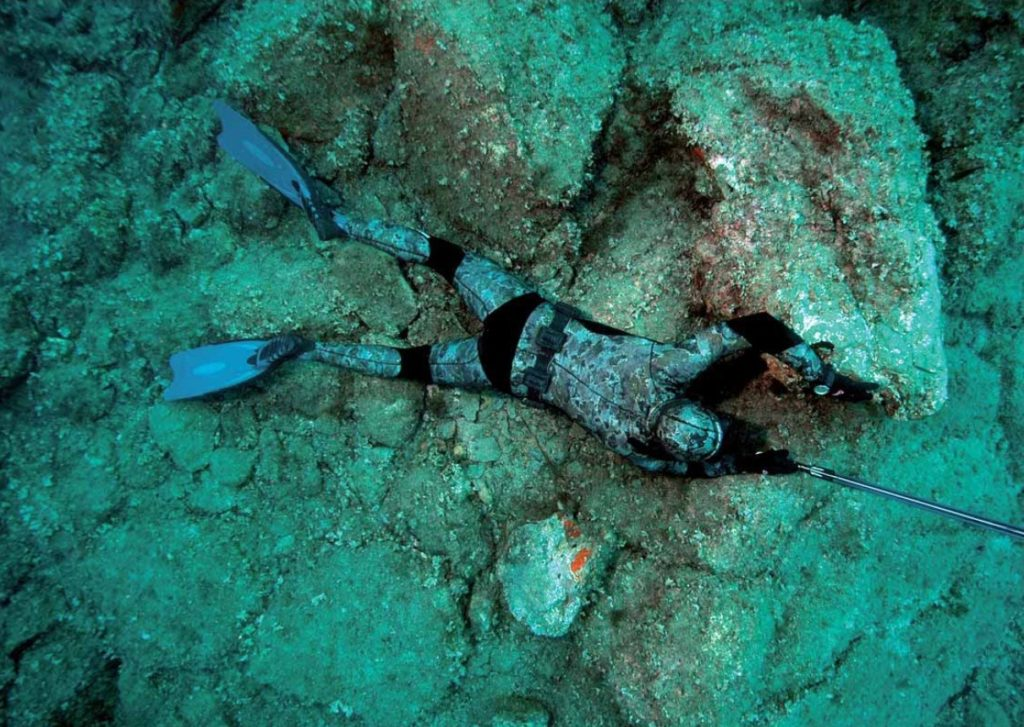 Подводный охотник в засаде