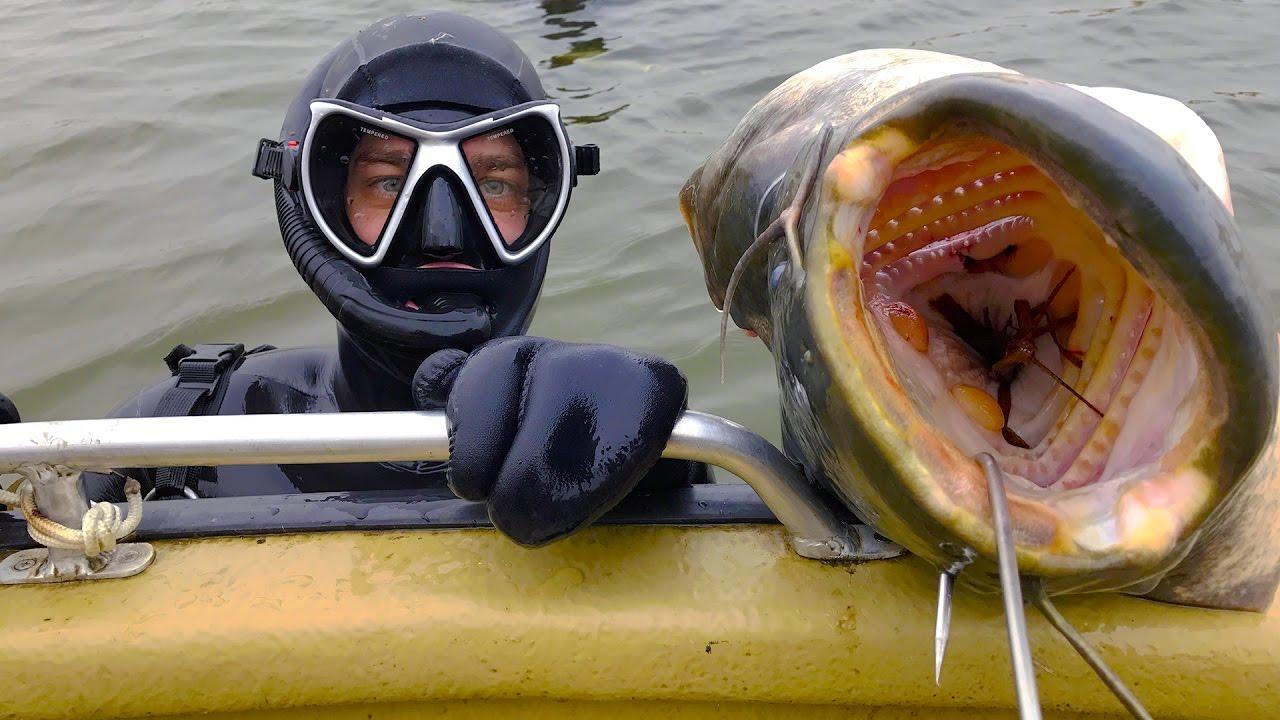Подводный охотник и пасть сома