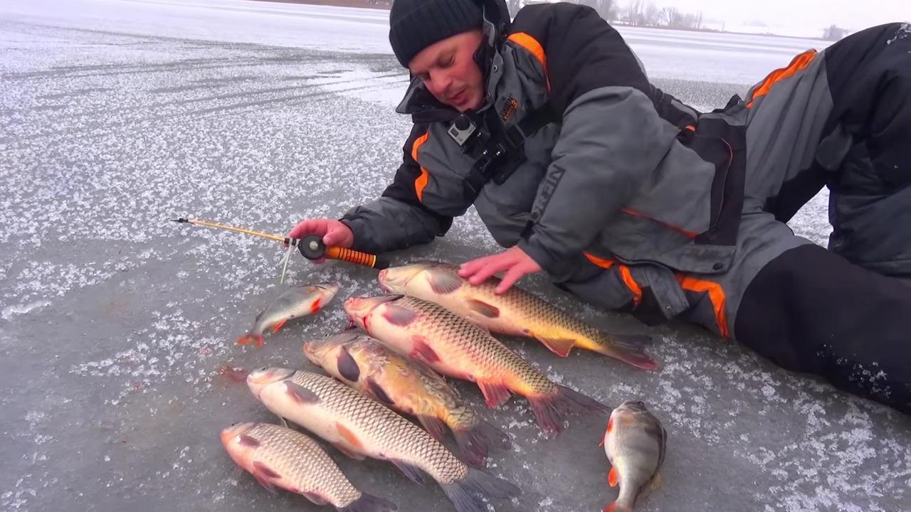 Рыбак на льду с уловом