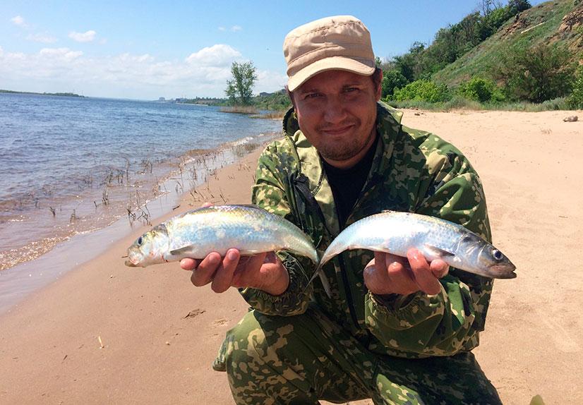 Рыбак с двумя рыбами в руках