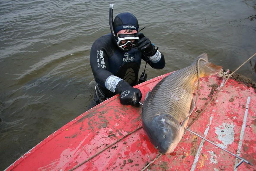 Подводный охотник с огромным сазаном