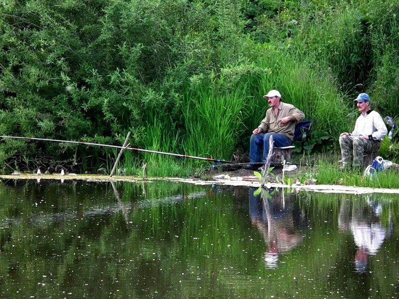 Два рыбака с удочками на берегу озера