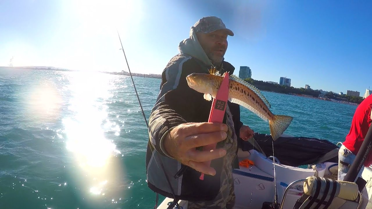 Рыбак в лодке с ядовитой рыбай в руках