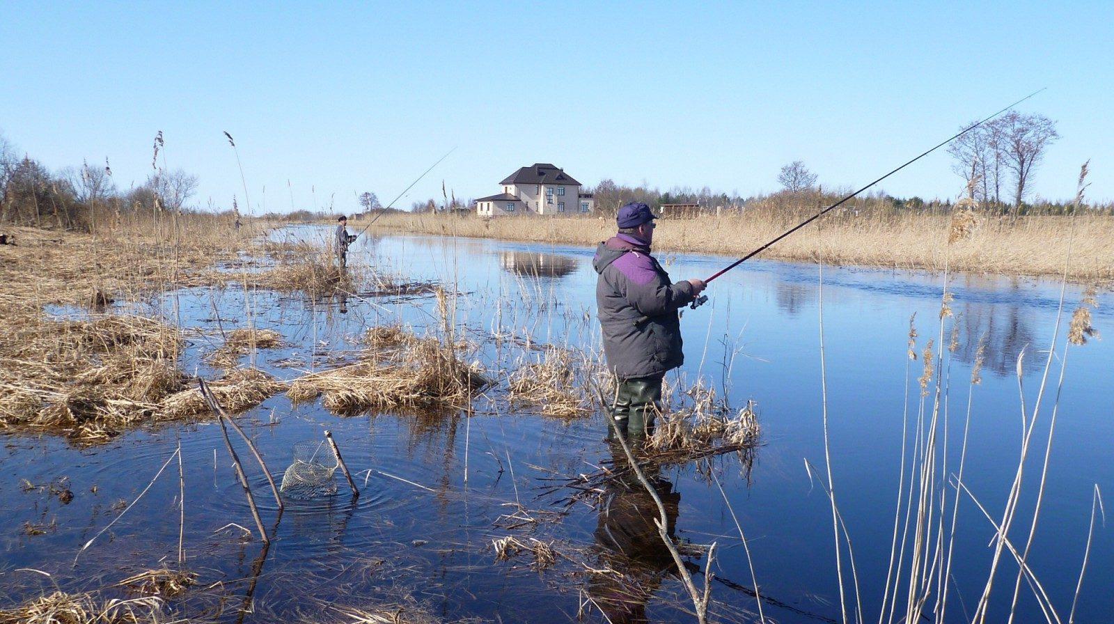 Рыбаки с удочками на рыбалки