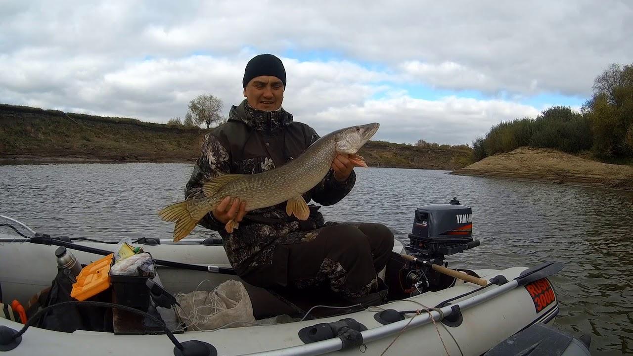 Рыбак в лодке с пойманной рыбой