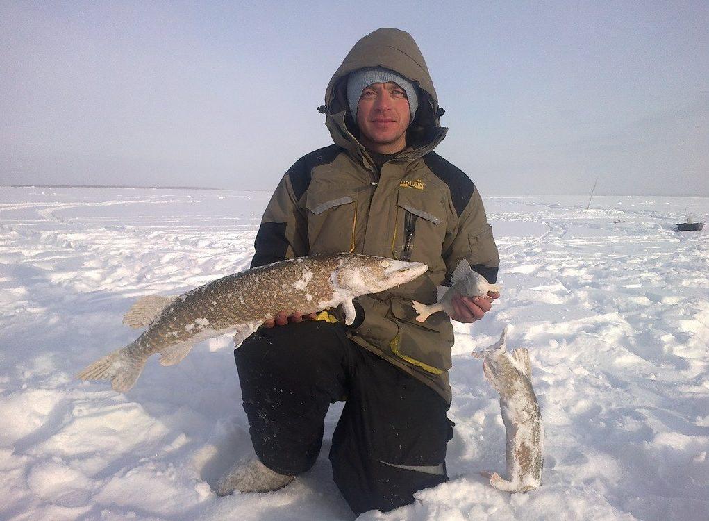 Рыбак с рыбой на зимней рыбалки
