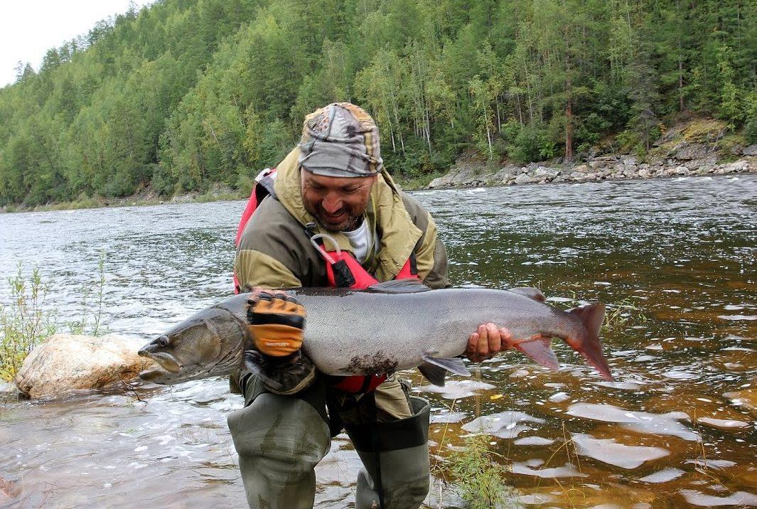 Рыбак с пойманной огромной рыбой