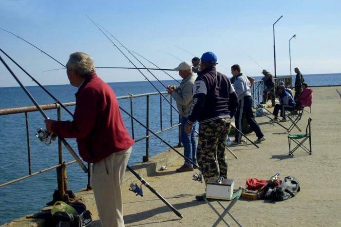 Группа рыбаков на пирсе